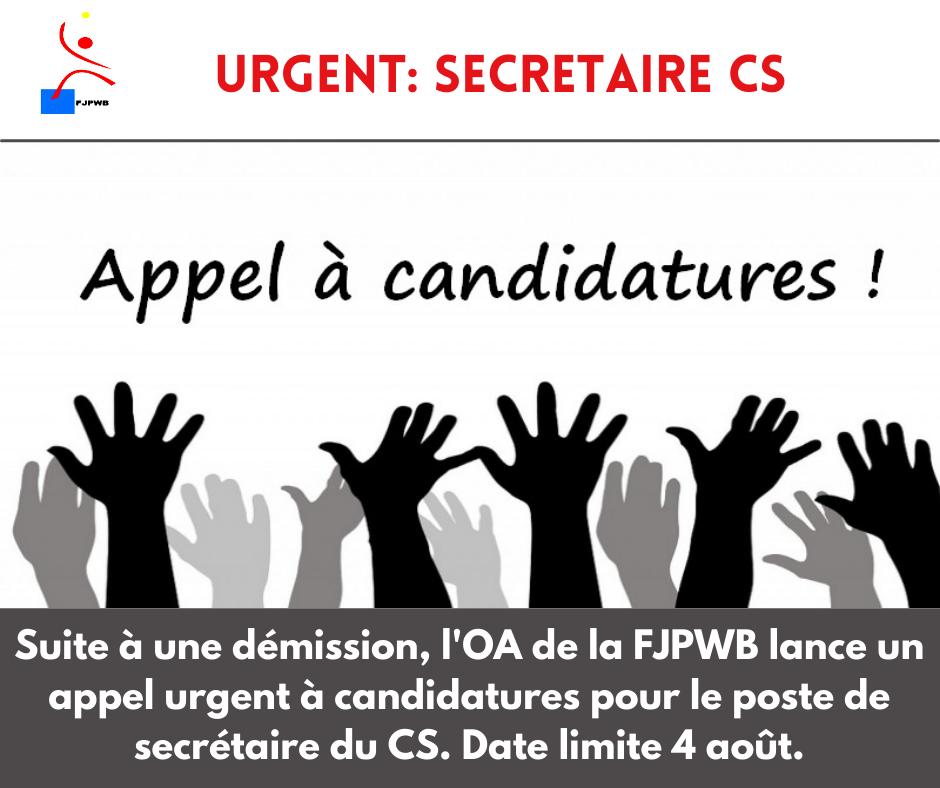 Urgent : Nouvel appel à candidatures pour le poste de secrétaire du comité sportif